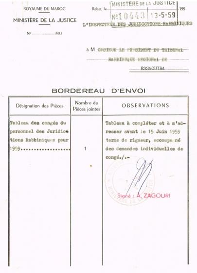 BORDEREAU D'ENVOI ADRESSÉ LE 13/05/1959 AU PRÉSIDENT DU TRIBUNAL RABBINIQUE DE MOGADOR