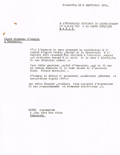 taille 40 73663 9e203 Demande d'emploi adressée le 05/09/1972 au ministre du ...